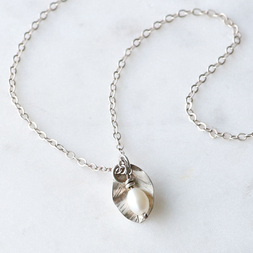 Petite Pearl Leaf Necklace