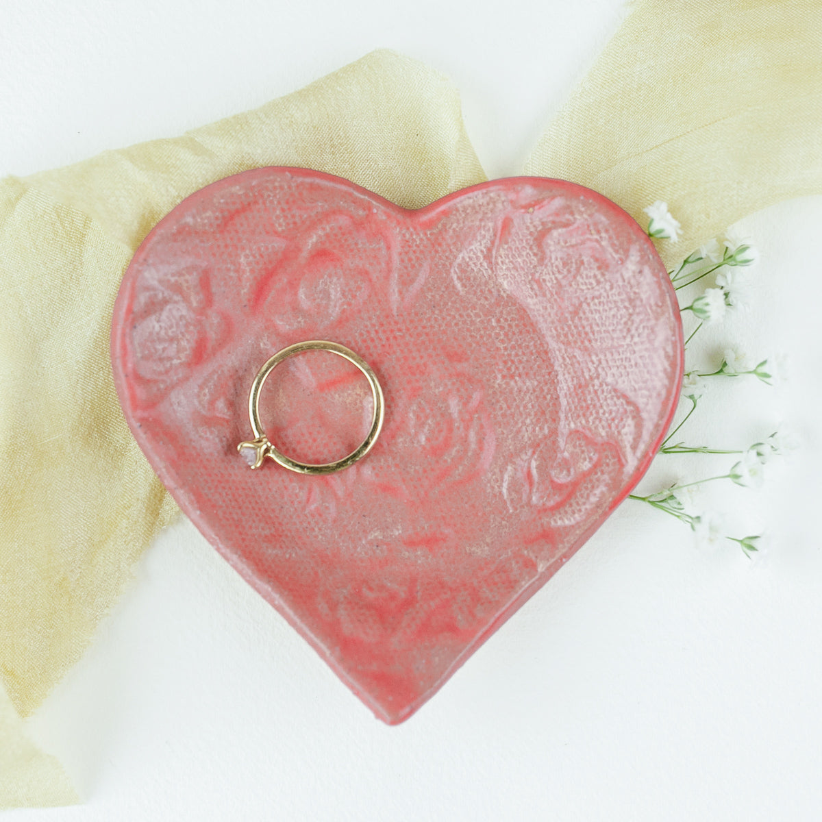 Pottery pink heart shaped trinket dish