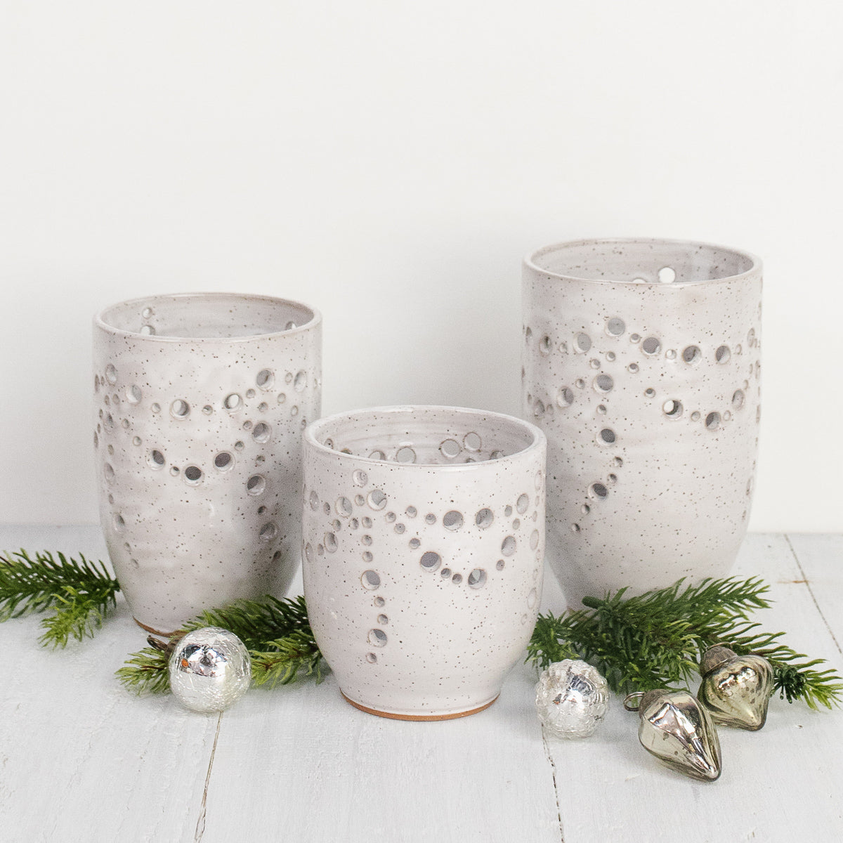 Pottery Luminary Trio