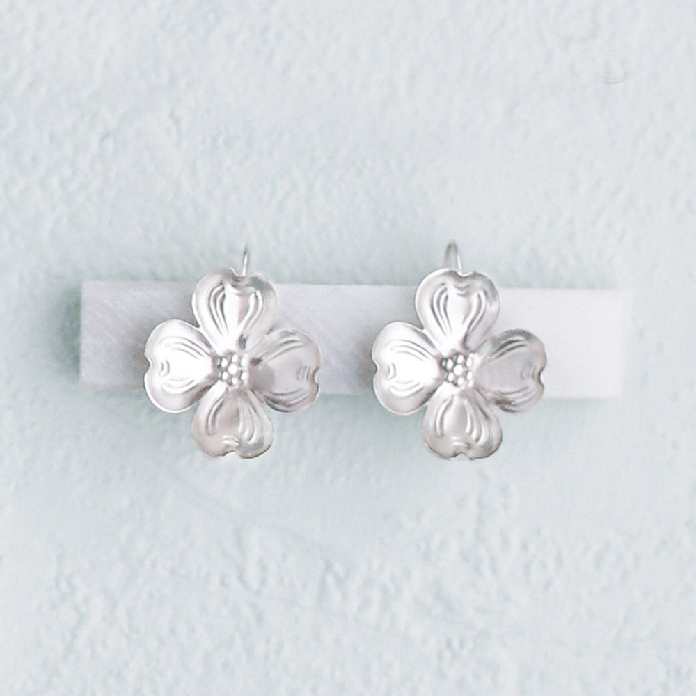 Silver Dogwood Earrings