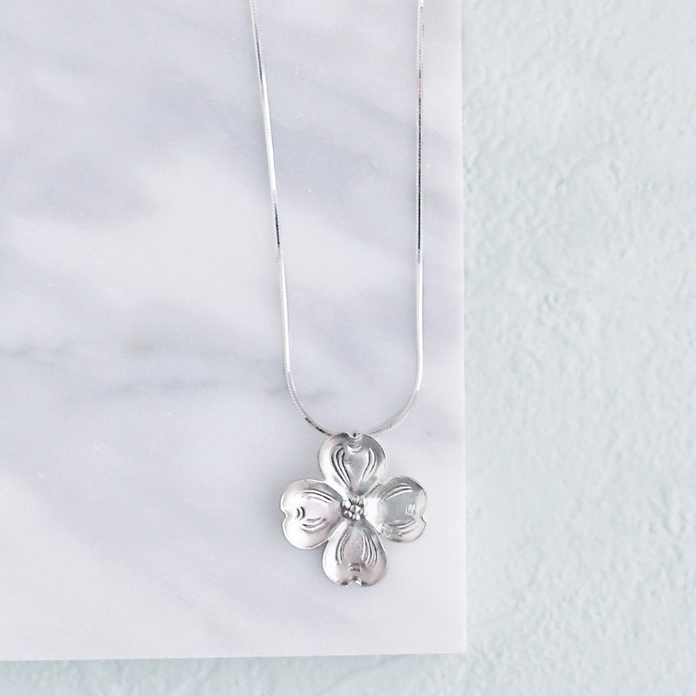 Silver Dogwood Necklace
