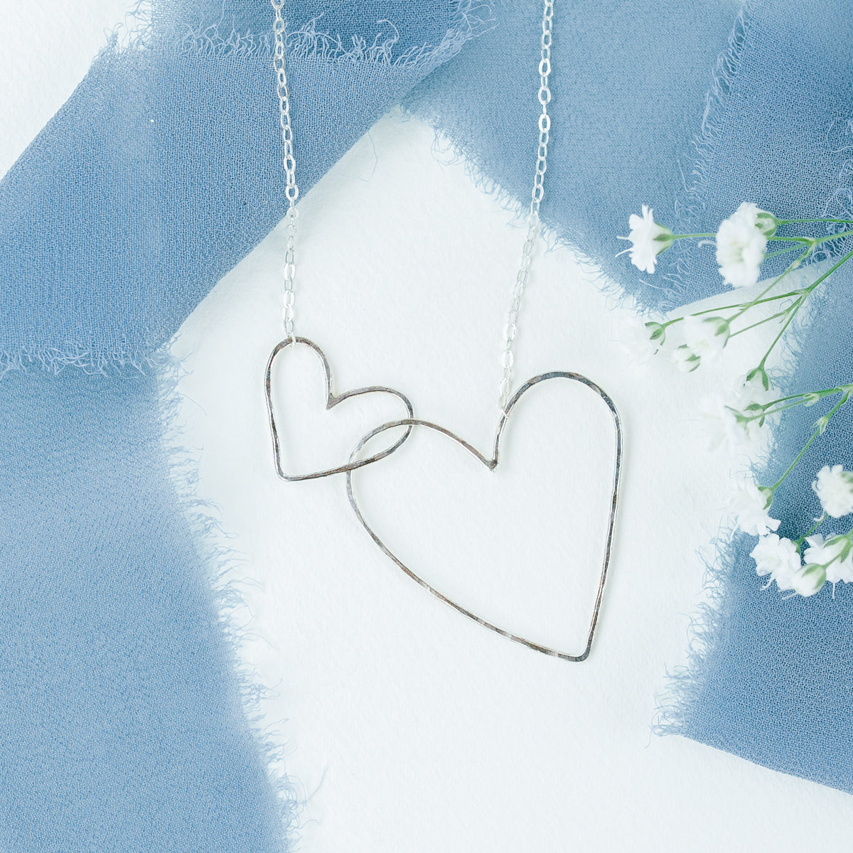 Interlocking Heart Silver Necklace