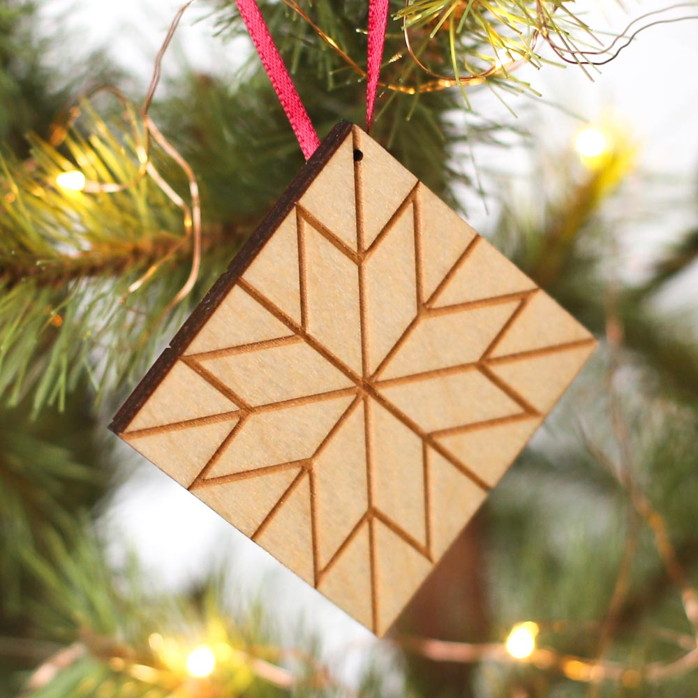 Wooden Quilt Square Ornament