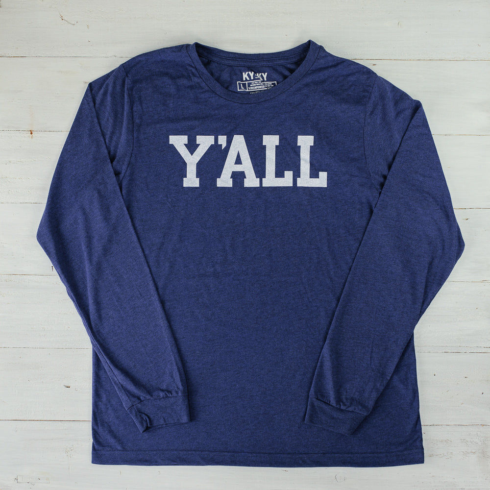 A navy blue long sleeve North Carolina t-shirt with the word Y'ALL in white block text.