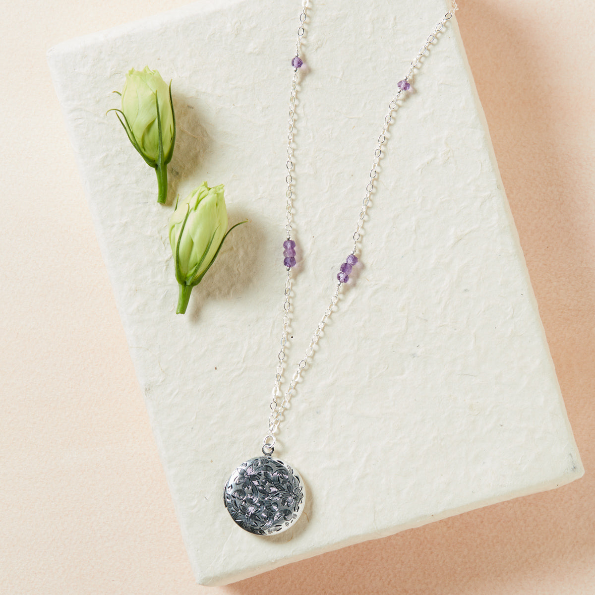 Amethyst Locket Necklace