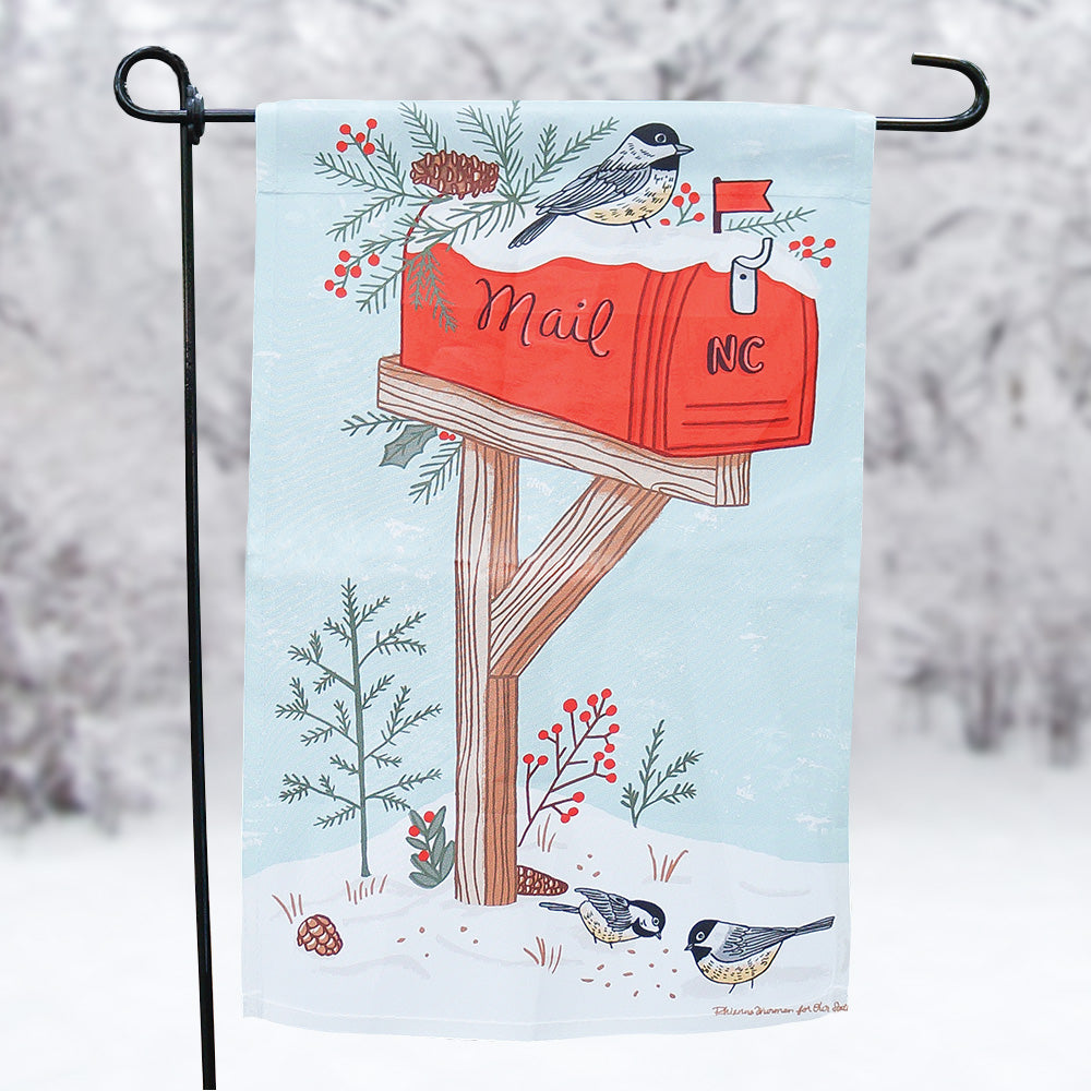 Birds in the Snow Garden Flag