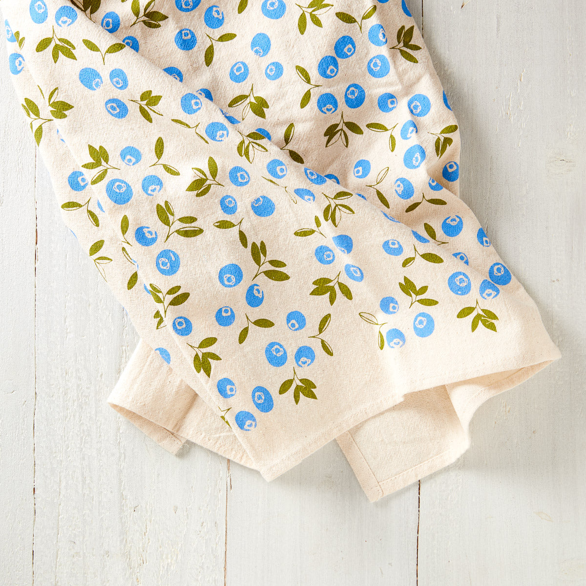 Hand-Printed Blueberry Towel