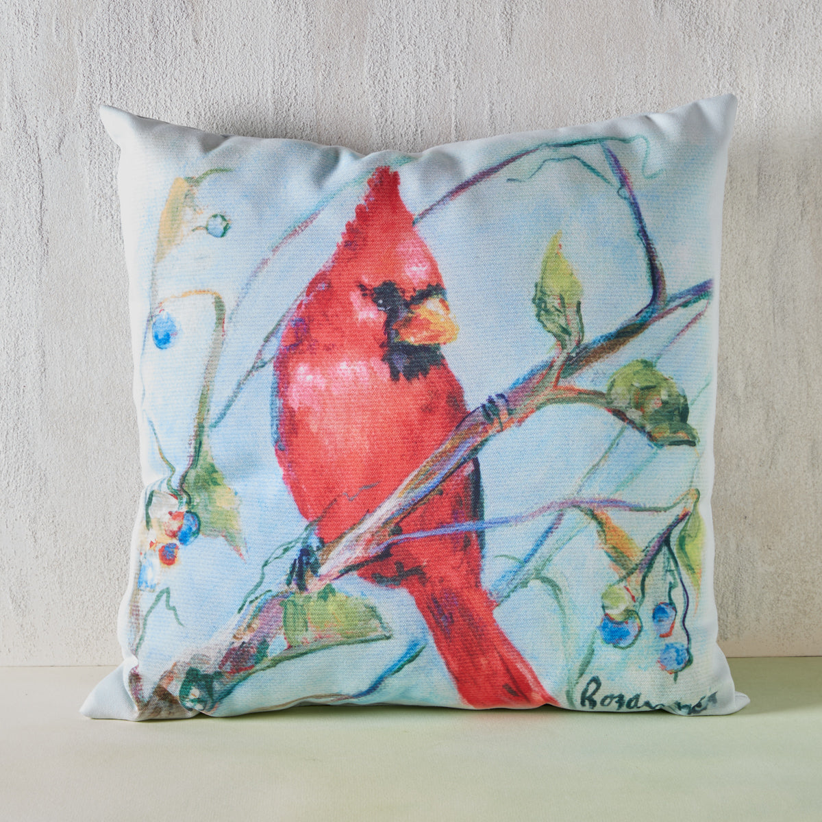 Cardinal and Blueberries Indoor/Outdoor Pillow