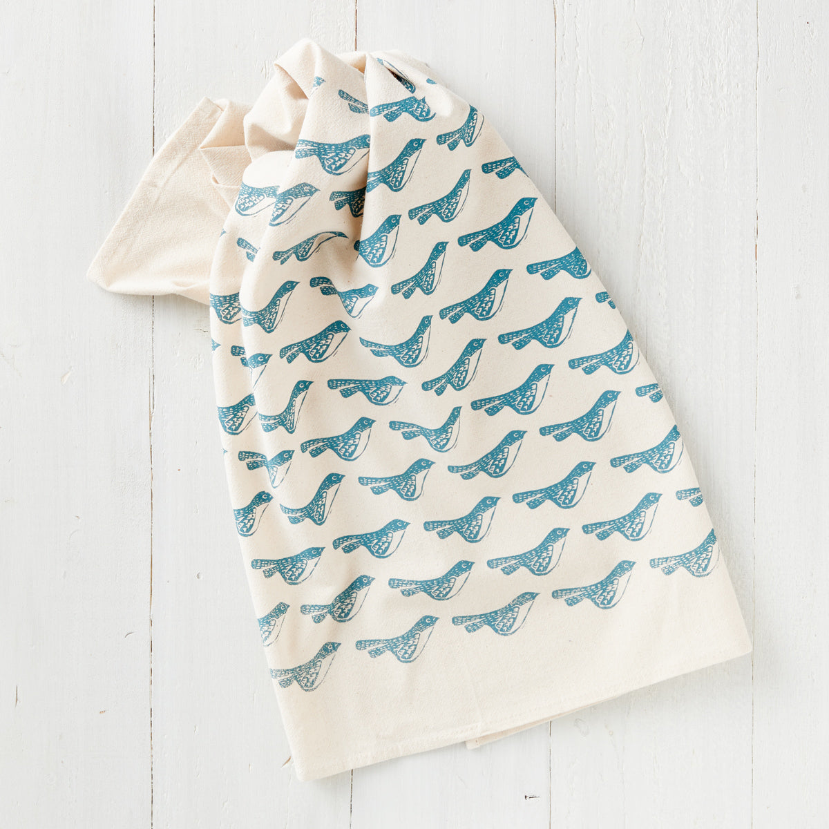 Hand-Printed Blue Bird Towel