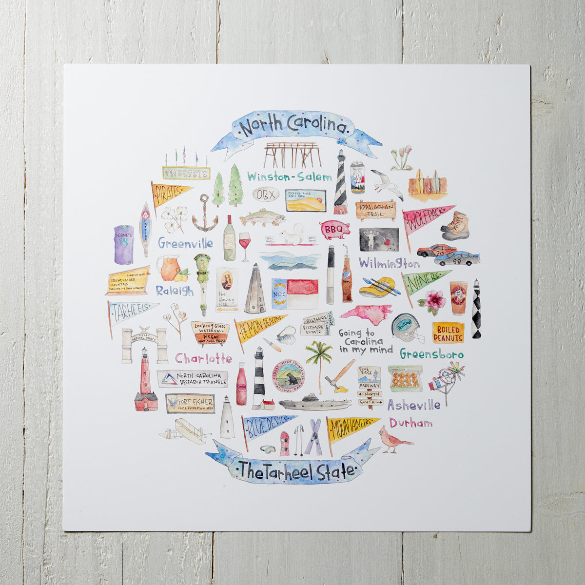 Illustrated Symbols Square Print