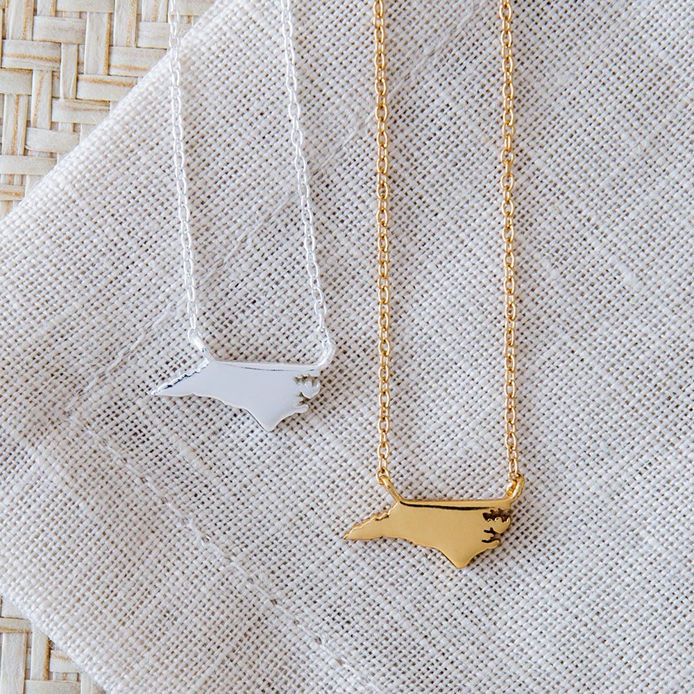 Petite North Carolina Shaped Necklace
