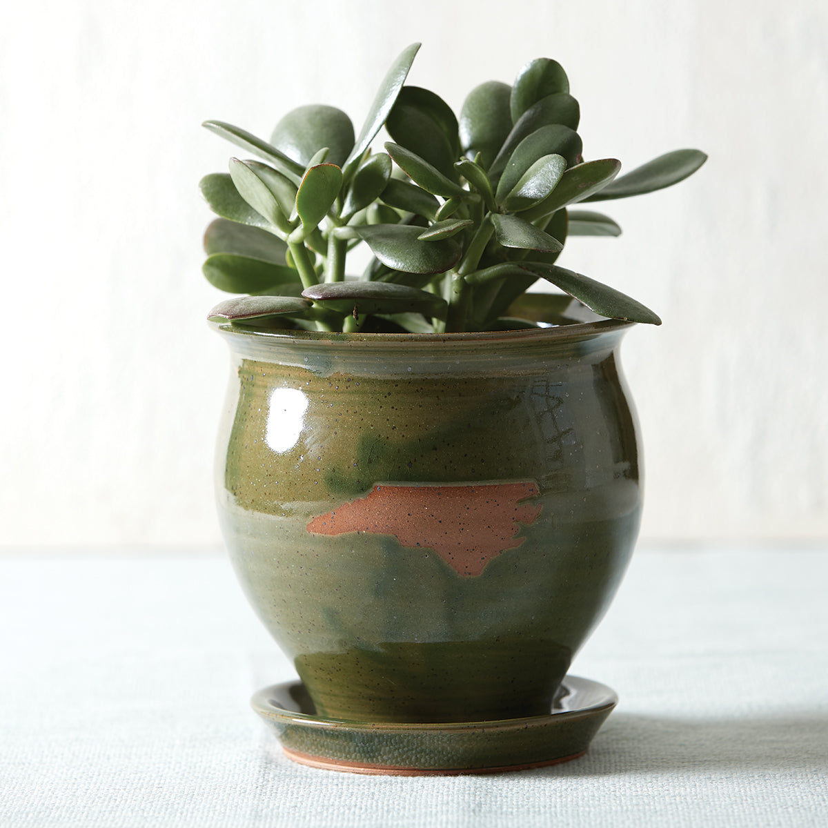 Green North Carolina Pottery Planter