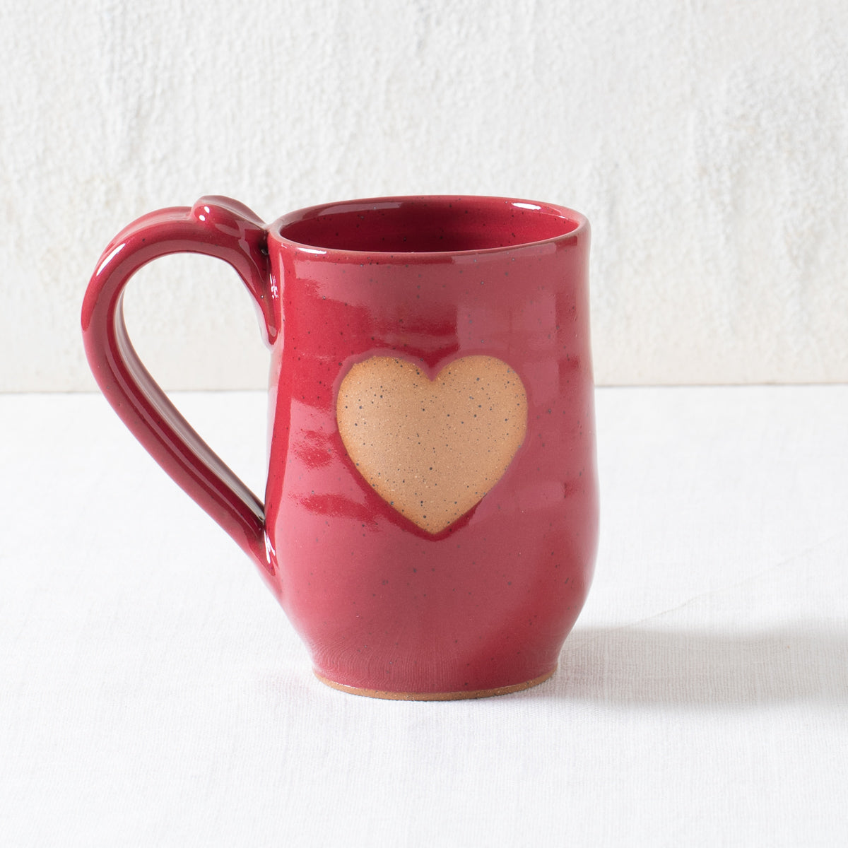 Red Heart Pottery Mug