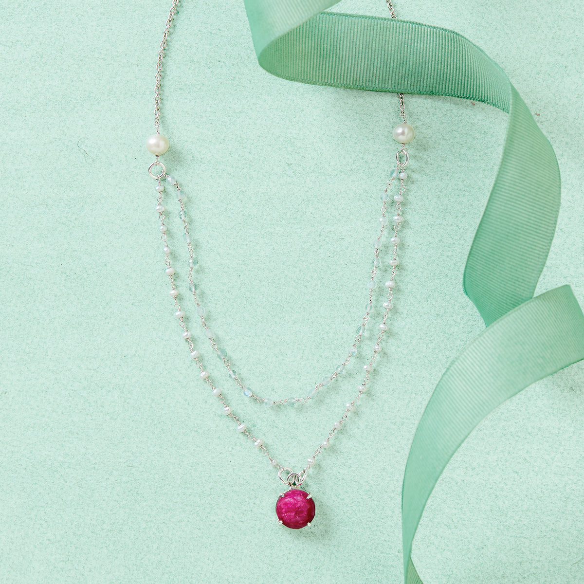 Ruby Pearl Layered Necklace