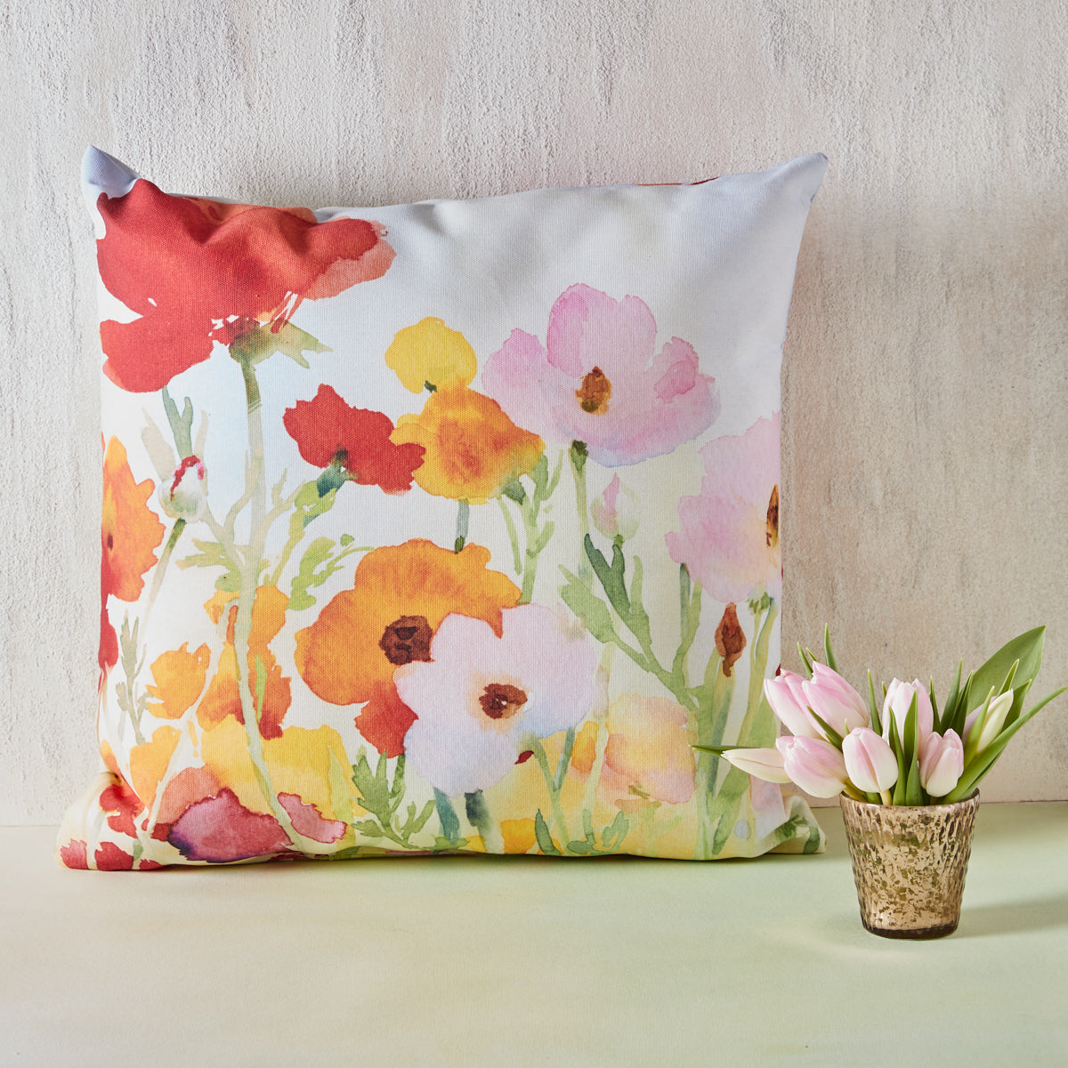Watercolor Florals Indoor/Outdoor Pillow