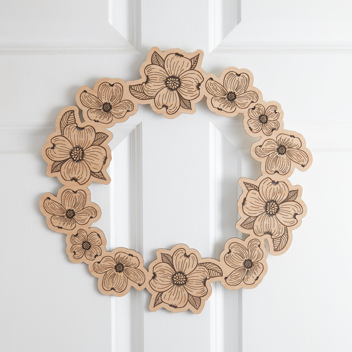 Wooden Dogwood Wreath