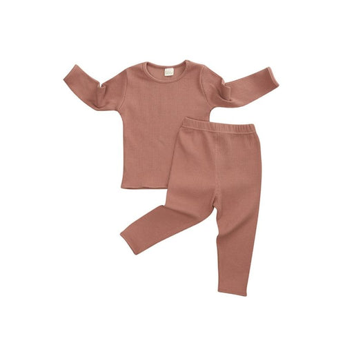 Brand New Ribbed Pajama Set- Burnt Orange