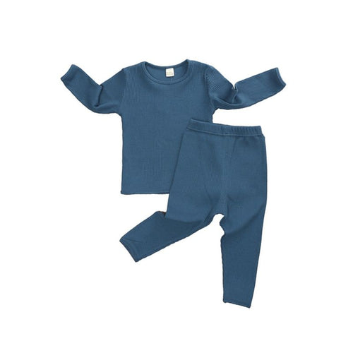 Brand New Ribbed Pajama Set- Navy