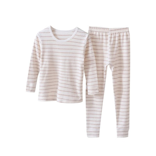 Brand New Stripe Pajama Set- Tan