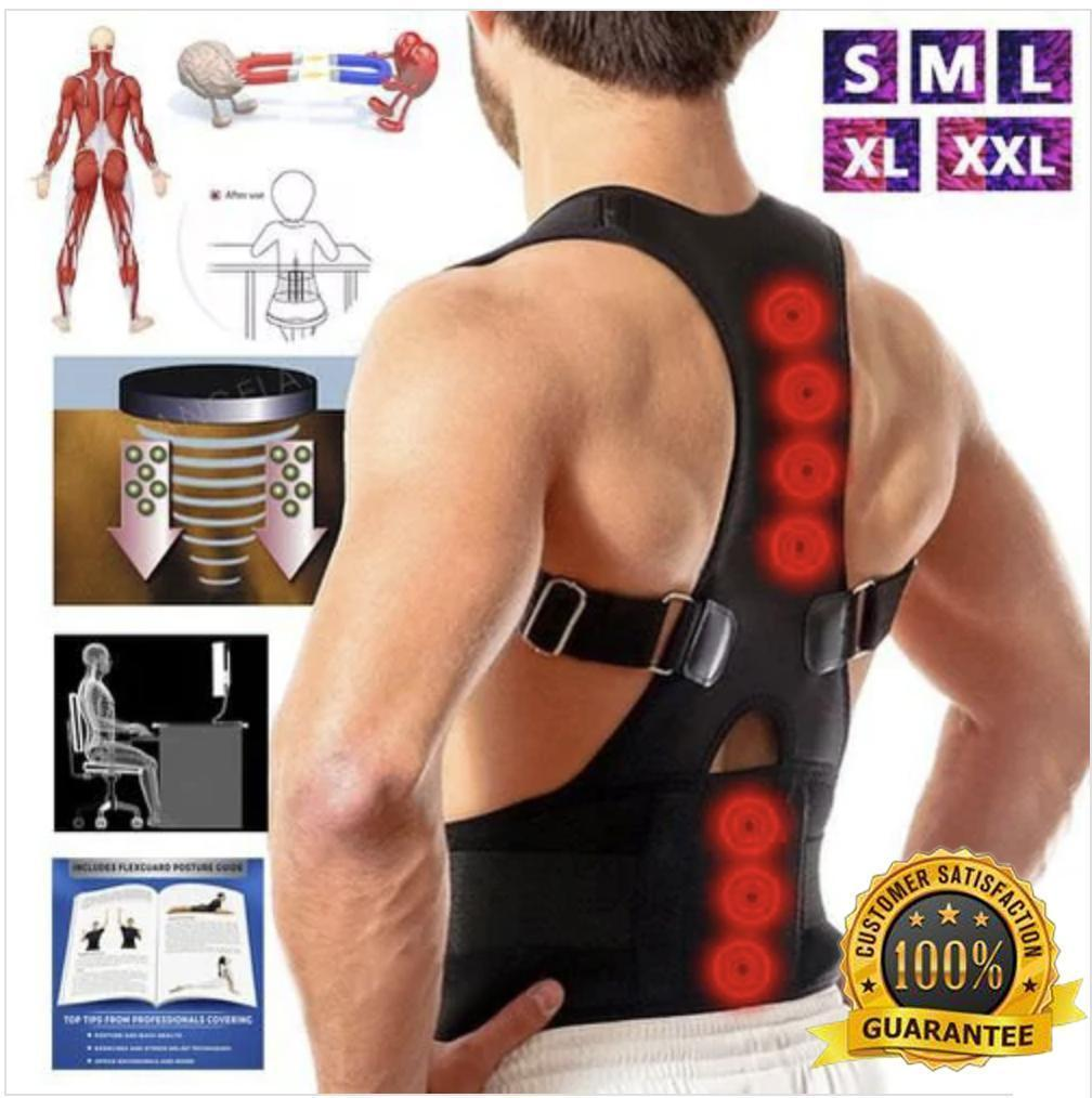 Magnetic Posture Corrective Therapy Back Brace For Men & Women Magnetic Posture Corrective Therapy Back Brace For Men & Women BLACK / XXL