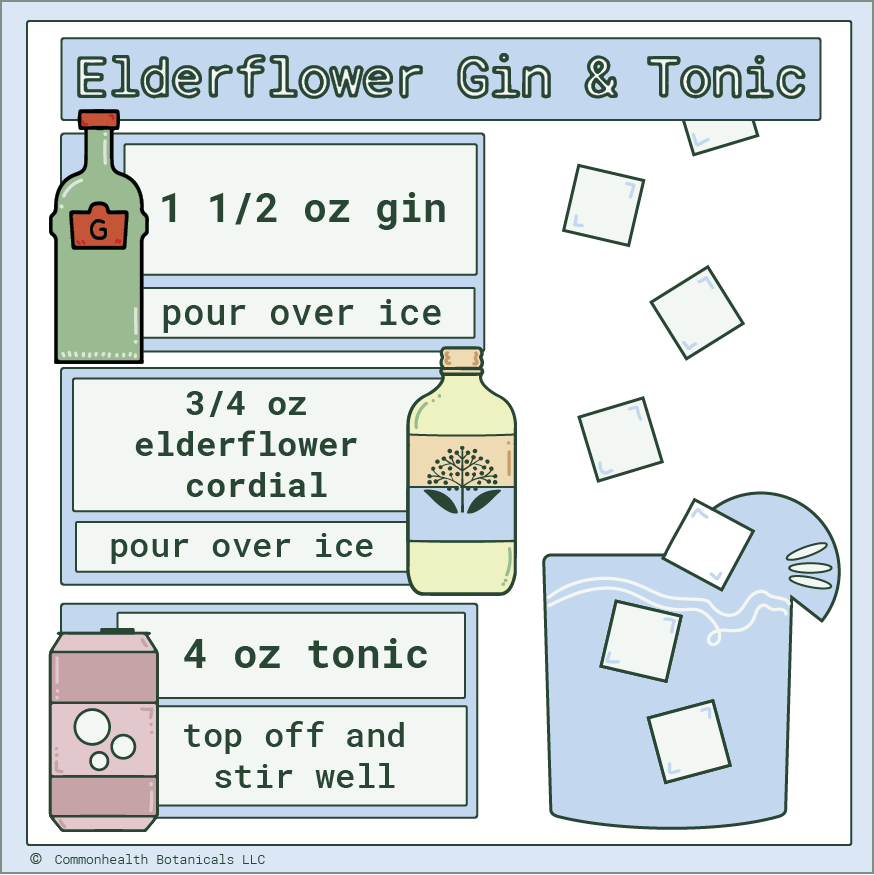 This Elderflower Gin & Tonic is a unique, summertime twist on a classic gin cocktail. Elderflowers have a delicate floral flavor that we love, and complement the gin's botanical flavor perfect. Our Elderflower Gin & Tonic is simple, sophisticated, and will please most any palate. Click here for the full recipe.