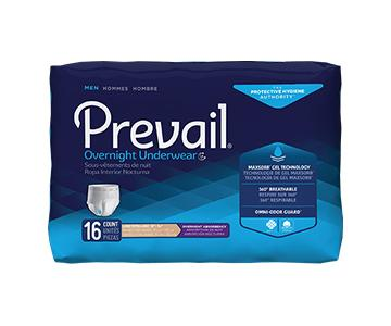 Prevail for Men Protective Underwear - Overnight Absorbency - White