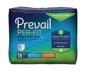 Prevail Per-Fit Protective Underwear - Extra Absorbency - Unisex - White