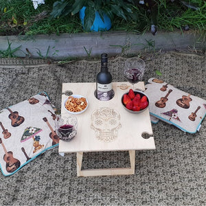 Round or Square Natural Calavera Folding Picnic Tables for 4