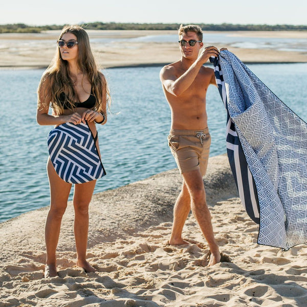 The Surfers- Navy Sand Free Beach Towel with carry bag