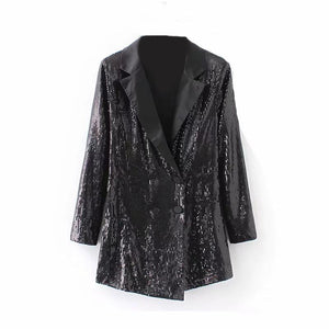 Fashion sequined double-row button in the long Blazer