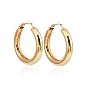 Popular Personality Thick Round Metal Women's Earrings