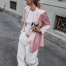 Load image into Gallery viewer, classic suit collar long sleeves slit pockets pink blazer