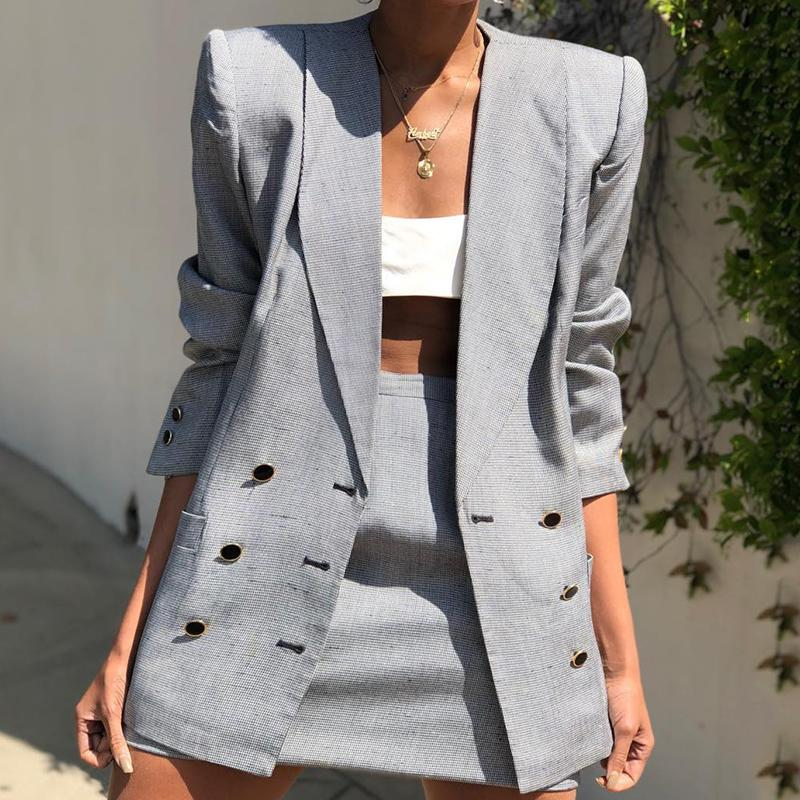Formal A Lapel Pure Color Long Sleeve Blazer