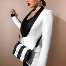 Load image into Gallery viewer, Sexy deep V black and white contrast color waist blazer