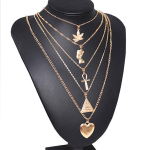 Exaggerated Metal Maple Leaf Pyramid Multilayer Necklace