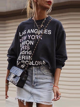 Load image into Gallery viewer, Simple round neck print long sleeve loose sweater