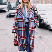 Load image into Gallery viewer, Fashion Lapel Collar Winter Loose Check Long Coat