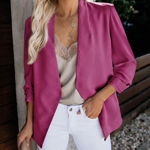 Leisure Long Sleeve Fold Over Collar Blazer