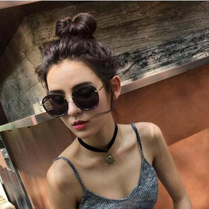 Korean Vintage Fashion Oval Mirror Polarized Sunglasses