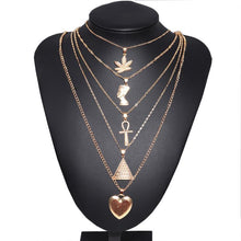 Load image into Gallery viewer, Exaggerated Metal Maple Leaf Pyramid Multilayer Necklace