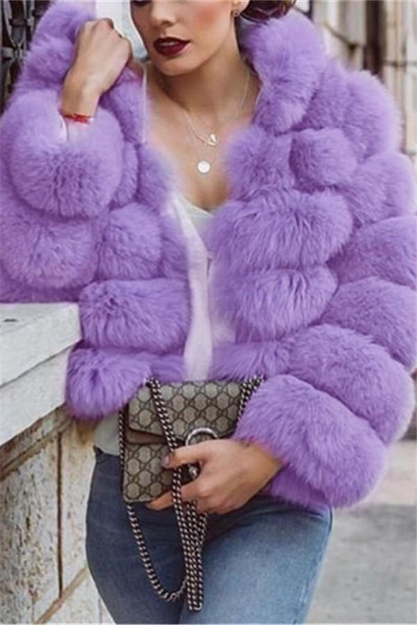 Pure Color Imitation Fur Coat Long Sleeve Loose Coat