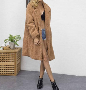Winter Plain Lapel Collar Faux Fur Long Coat