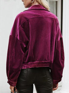 Pure-Purple Corduroy Lapel Jacket