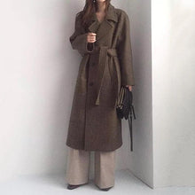 Load image into Gallery viewer, Women's Modern Turndown Collar Pure Color Belted Woolen Coat