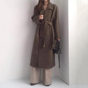 Women's Modern Turndown Collar Pure Color Belted Woolen Coat
