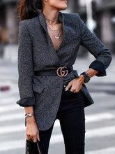 Load image into Gallery viewer, England Style A Lapel Long Sleeve Pure Colour Loose Blazer