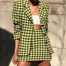 Load image into Gallery viewer, Fashion Pure Colour Check Halflong Sleeve Suit