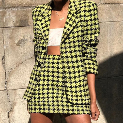 Fashion Pure Colour Check Halflong Sleeve Suit
