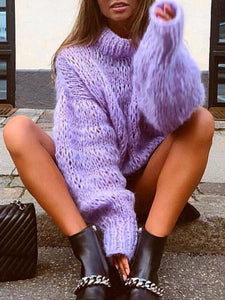 Casual Solid Color High Collar Fur Pure Color Sweater