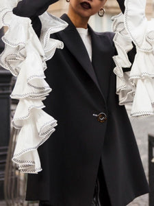 Fashion Lapel Long Sleeves Decorative Ruffles Brazer